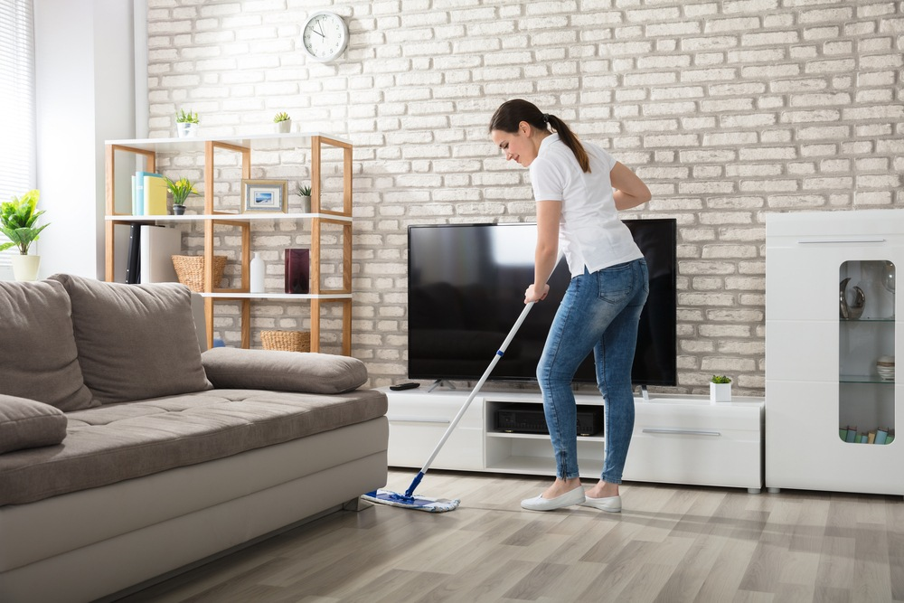 Cleaning the living room